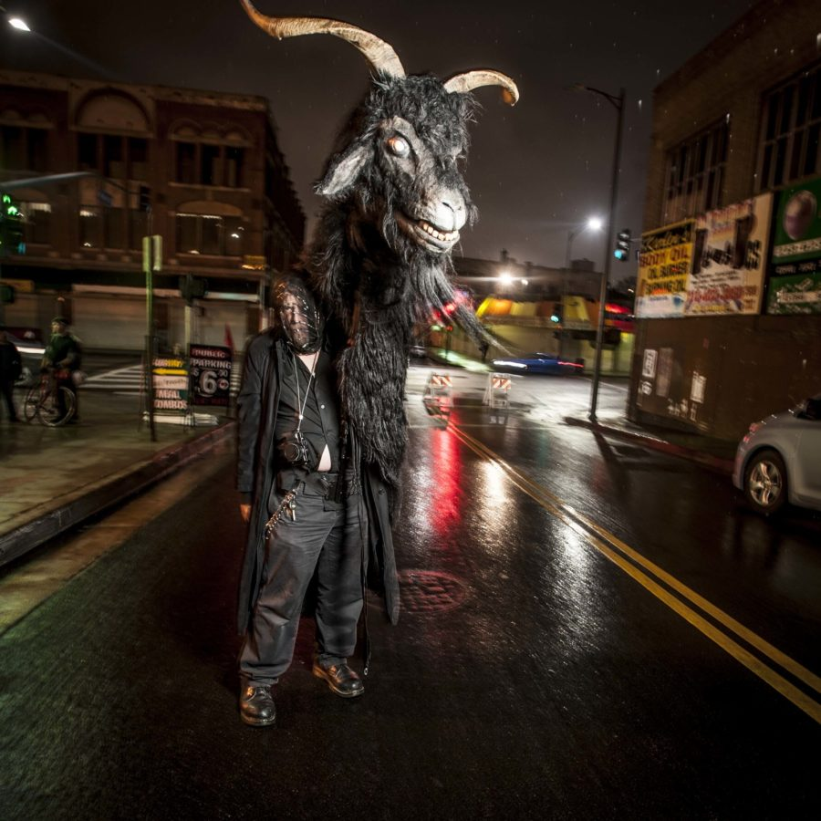 "LA troupe ""Habergeiss"" (Alpine demon goat) puppet 2016 LA Krampus Run (at Downtown Art Walk). Photo; Vern Evans (vernevansphoto.com)"
