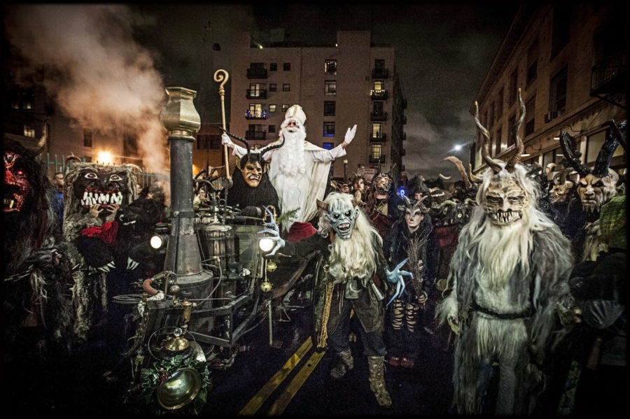 Moorpass from Austria and Krampus LA troupe at 2016 LA Krampus Run (at Downtown Art Walk). Photo; Vern Evans (vernevansphoto.com)
