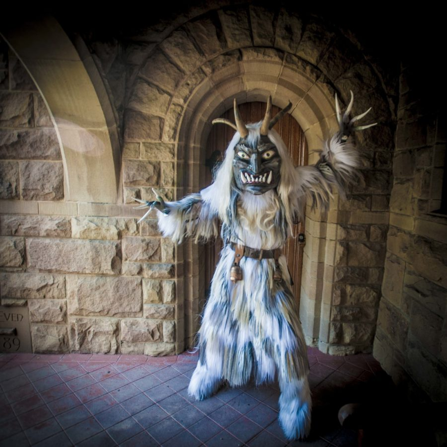 Sharon McGunigle from 2016 Krampus Play (at Church of the Angels). Photo; Vern Evans (vernevansphoto.com)